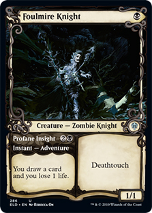 1 Oathsworn Knight Extended Art Black Throne of Eldraine ELD Mtg Magic Rare 1x